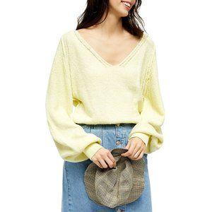 NWT Free People lemon V-neck sweater, Size XS